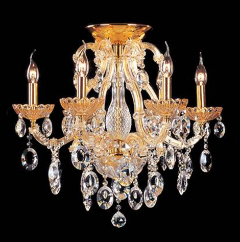 "23.5"" x 22"" Ceiling Light fixture 6 bulbs with 61 Clear Crystals"