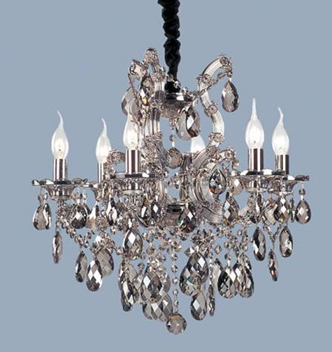 "22"" x 21.5"" Ceiling Light fixture 6 bulbs with 62 Black Crystals - Click Image to Close"