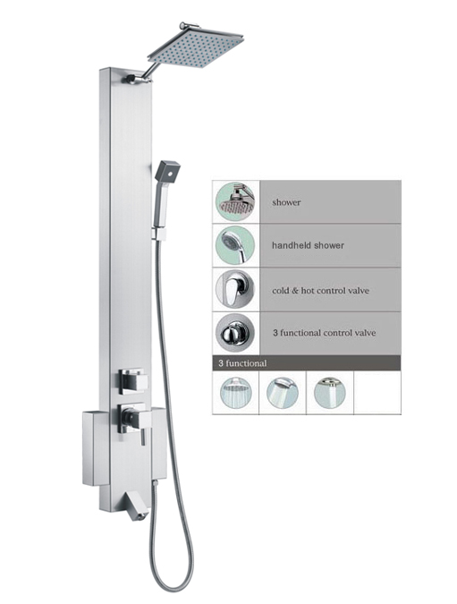 "48"" Shower Panel with rainfall showerhead tub spout SPS822 [SPS822]"
