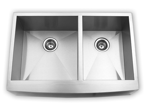 "33"" Apron Stainless Steel Double Bowl Kitchen Sink"