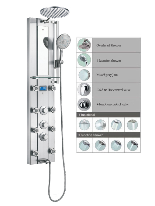 "51"" Shower Panel Rainfall showerhead Thermostatic 8Jets SPS332 - Click Image to Close"
