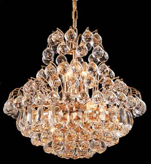 "19"" x 17"" Ceiling Light fixture 11 bulbs with 166 Clear Crystals - Click Image to Close"
