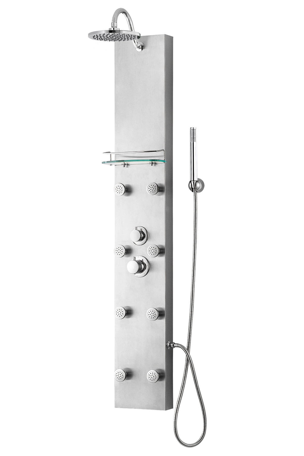 "57"" Thermostatic Shower Panel with Overhead Rainfall Showerhead"